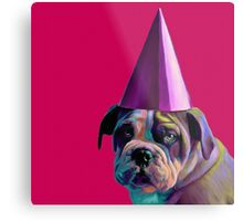 Pink Birthday Pup Metal Print