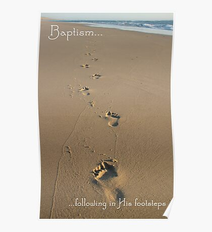 Footprints Baptism Card Poster