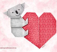 Cuddly Koala and Heart Origami by JumpingKangaroo