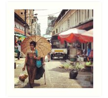 The Lady With The Umbrella  Art Print