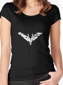 Batman 'Chalk Bat Signal' from The Dark Knight Rises Women's Fitted Scoop T-Shirt