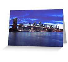New York City Skyline Blue Greeting Card