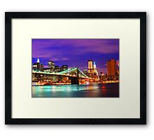 New York City Purple Skyline Framed Print