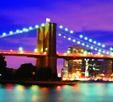New York City Skyline Purple Bridge by JessicaRoss