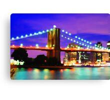New York City Skyline Purple Bridge Canvas Print