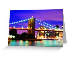 New York City Skyline Purple Bridge Greeting Card