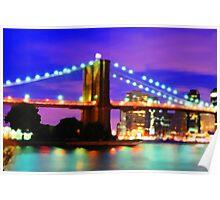 New York City Skyline Purple Bridge Poster
