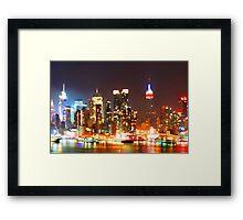 New York City Orange Skyline Framed Print