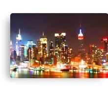 New York City Orange Skyline Canvas Print