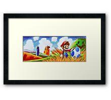 Mario and the Blue Yoshi Egg Framed Print