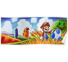 Mario and the Blue Yoshi Egg Poster