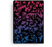 Urban Chaos Pink & Blue Canvas Print
