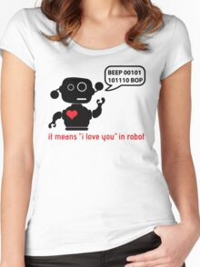 Beep 01100010 BOP means I love you in robot Women's Fitted Scoop T-Shirt