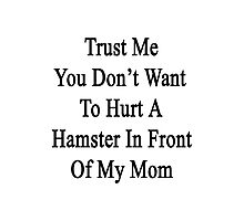 Trust Me You Don't Want To Hurt A Hamster In Front Of My Mom  Photographic Print