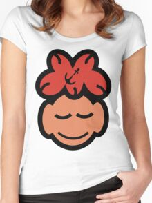 Cute Sleeping Face Women's Fitted Scoop T-Shirt