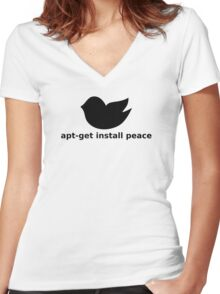 apt-get peace Women's Fitted V-Neck T-Shirt