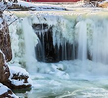 Frozen Waterfall and Covered Bridge by Kenneth Keifer