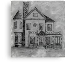 Victorian House in Pen and Ink Canvas Print