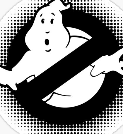 Original Ghostbusters Halftone Logo (in black and white) Sticker