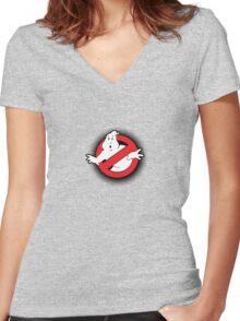 Original Ghostbusters Halftone Logo (in colour) Women's Fitted V-Neck T-Shirt