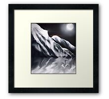Icy Hills Under Moon Framed Print