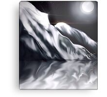 Icy Hills Under Moon Metal Print