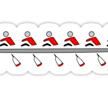 Rowing - an 8+, red & black, light background Sticker