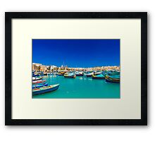 Fishing boats on turquoise sea Framed Print