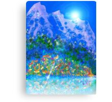 Mountains and wildflowers  Canvas Print