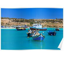Boats in fishing village Poster
