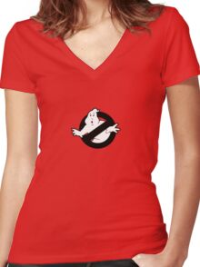 Original Ghostbusters Logo (in black and white) Women's Fitted V-Neck T-Shirt