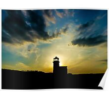 Sunset behind the Lighthouse Poster
