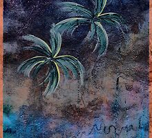 PALMS ON BARK BLUE NIGHT by dkatiepowellart