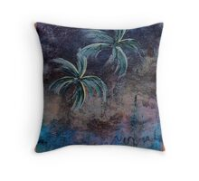 PALMS ON BARK BLUE NIGHT Throw Pillow