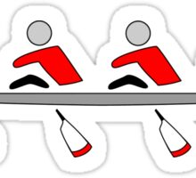 Rowing - quad, red & black, light background Sticker