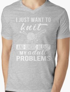 I Just Want to Knit Shirt Mens V-Neck T-Shirt