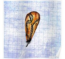 Brown Feather On Graph Poster