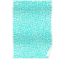 Turquoise Leopard Poster