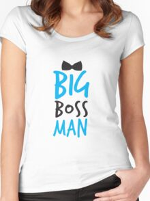 BIG Boss man with a Black Bow Tie Women's Fitted Scoop T-Shirt