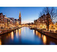 Winter sunset in Amsterdam Photographic Print