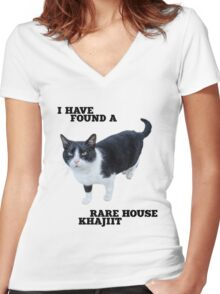 Rare House Khajiit Women's Fitted V-Neck T-Shirt