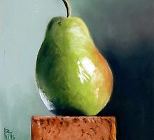 Pastel painting of a pear by ria hills