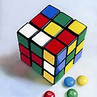 Rubik's Cube pastel painting by ria hills