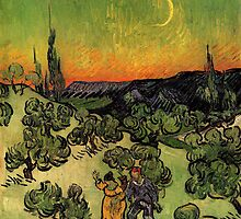'Landscape with Couple Walking and Crescent Moon' by Vincent Van Gogh (Reproduction) by Roz Barron Abellera