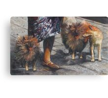 painting of a woman walking three dogs Canvas Print