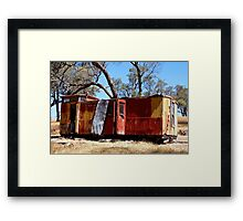 Old guards van on a hill top in Metcalfe Victoria Framed Print
