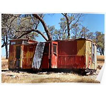 Old guards van on a hill top in Metcalfe Victoria Poster