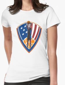 American Basketball Player Dunk Ball Shield Retro Womens Fitted T-Shirt