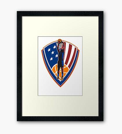 American Basketball Player Dunk Ball Shield Retro Framed Print