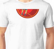 Basketball Player Jump Shot Ball Woodcut retro Unisex T-Shirt